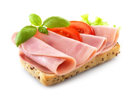 ham sandwich: sandwich with pork ham on white background