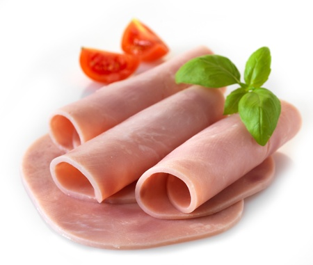sliced pork ham on white background