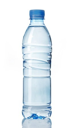 still water: plastic bottle of water on a white background