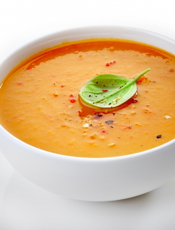 close up of a squash soup bowl photo