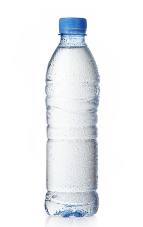 dews: wet plastic water bottle on a white background
