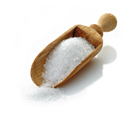 wooden scoop with white sugar photo