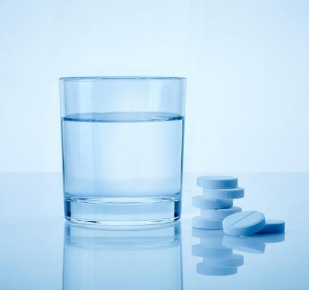 aspirin: glass of water and aspirin pills