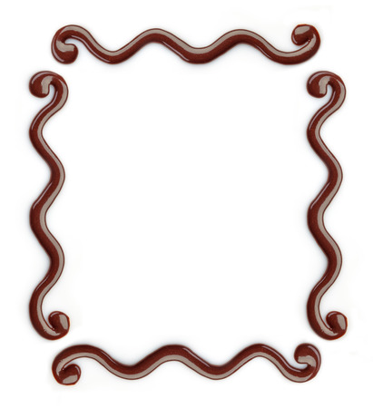 chocolate drop: chocolate frame on a white background Stock Photo