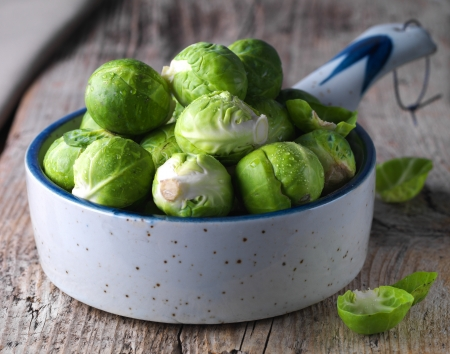 Brussels sprouts cabbage in a bowl Stock Photo