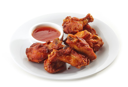 hot wings: Buffalo chicken wings and chili sauce Stock Photo