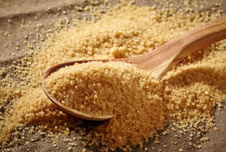 brown: brown sugar heap and wooden spoon