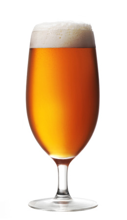 amber light: Glass of beer on white background