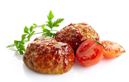sappig gebraden vlees schnitzels op een witte achtergrond Stockfoto