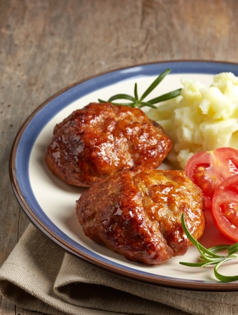 mashed: juicy fried meat cutlets on a plate