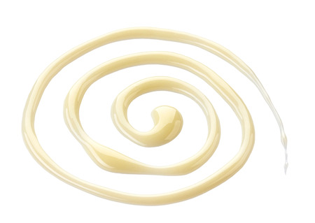 condensed: sweet condensed milk on a white background