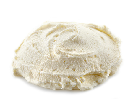 whipped cream: cream cheese on a white background