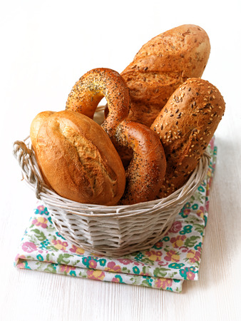 fresh baked bread on a white wooden table  photo