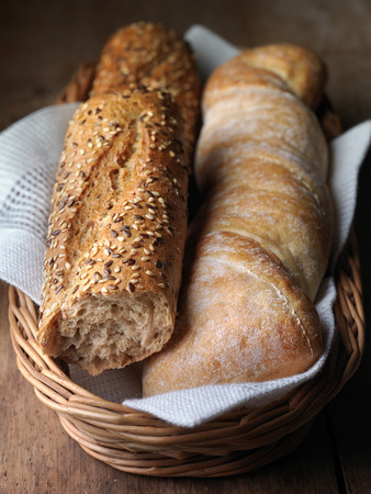 fresh baked bread in a basket photo