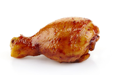 curry chicken: Roasted chicken leg on a white background Stock Photo