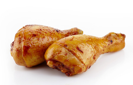 chicken leg: Roasted chicken legs on a white background