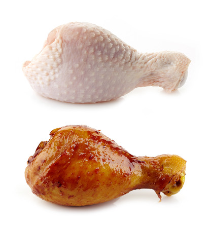 curry chicken: Raw and Roasted chicken legs on a white background