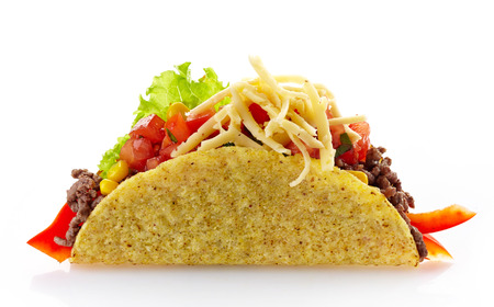 crunchy: Mexican food Taco on a white background Stock Photo