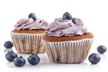 blueberry muffin: blueberry cupcakes on a white background