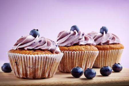 blueberry cupcakes on a white  photo