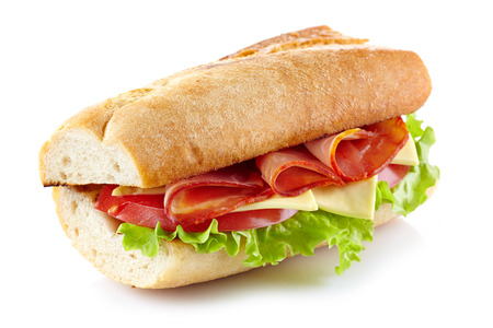 deli sandwich: Sandwich with meat and vegetables on a white  Stock Photo