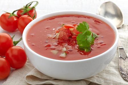 tomato soup: Bowl of Tomato soup Gazpacho Stock Photo