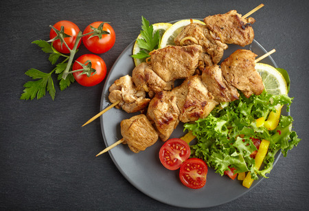 Pork barbecue, grilled pork meat on a plate Stock Photo