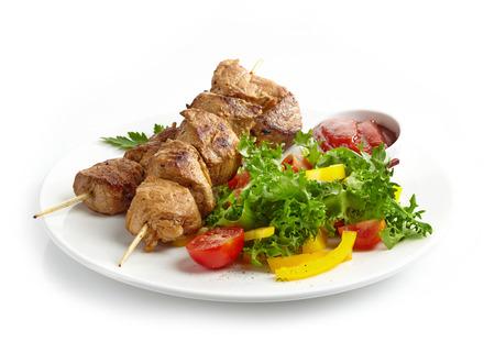 barbecue pork barbecue: Pork barbecue on a white background