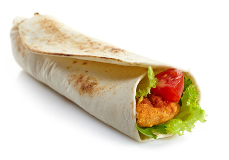fried chicken: Wrap with fried chicken and vegetables on a white background