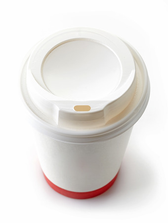 to go cup: Paper take away coffee cup on a white
