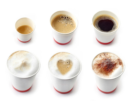Various kinds of coffees in a paper take away cups photo