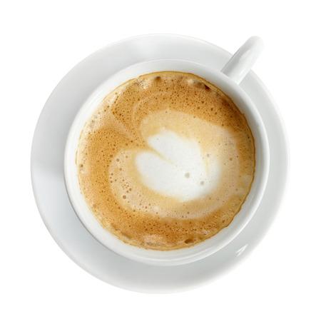 filiżanka kawy: Filiżanka kawy na białym, widok z góry