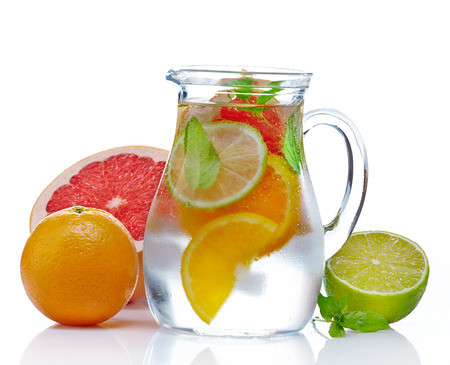 carbonated: jug of cold nonalcoholic citrus fruit drink