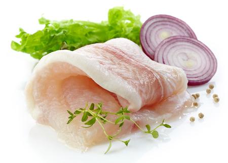 pangasius: raw pangasius fish fillet roll