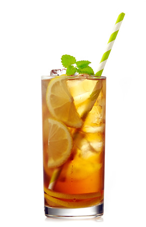 glass of iced lemon tea on a white background