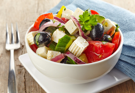 bowl of fresh greek salad Stock Photo