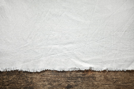 Old White Cotton Tablecloth On Wooden Table Stock Photo   30324458