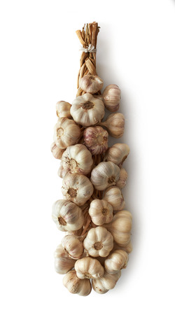 bunch of garlic on a white background Stock Photo