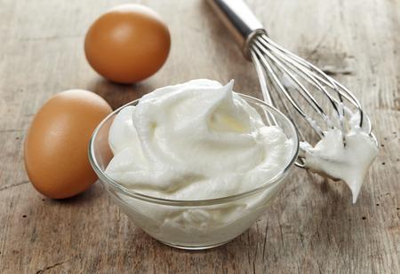 bowl of beaten egg whites
