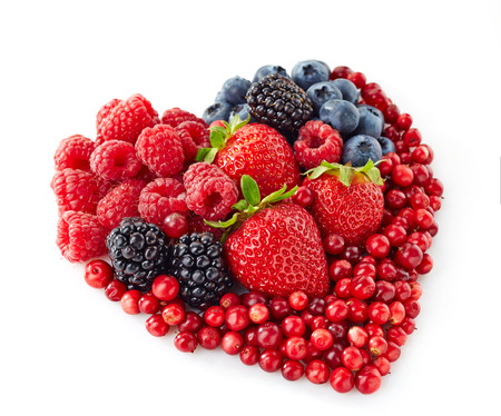 heart shape of various fresh berries photo
