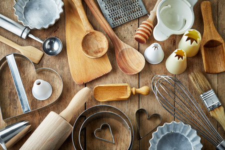 tools: various kitchen utensils on wooden table