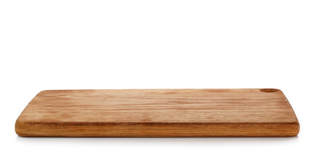 wooden cutting board on a white background