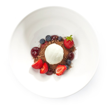 vanilla ice cream: Dessert with ice cream and fresh berries Stock Photo