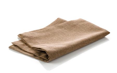 napkin: verde servilleta plegada de algodón sobre un fondo blanco