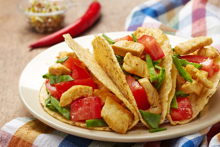 take out food: Chicken taco. Mexican food