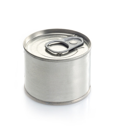 canned meat: canned food tin on a white background