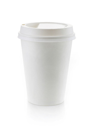 throw away: Paper take away coffee cup on a white background