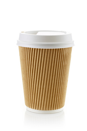 breakfast food: Paper take away coffee cup on a white background