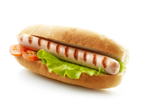 hot dog with grilled sausage on a white background