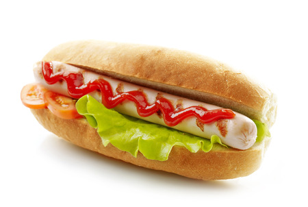 hot dog with grilled sausage on a white background Stock fotó